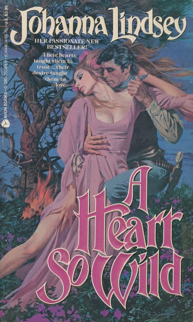 In a Heart So Wild by Johanna Lindsey  Courtney hires Chandos to help her trek across the west to find her father and instead she and Chandos find love. 4 1/2 stars